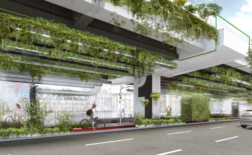 In Mexiko-Stadt sorgen bepflanzte Betonpfeiler und Brückenabschnitte für saubereLuft