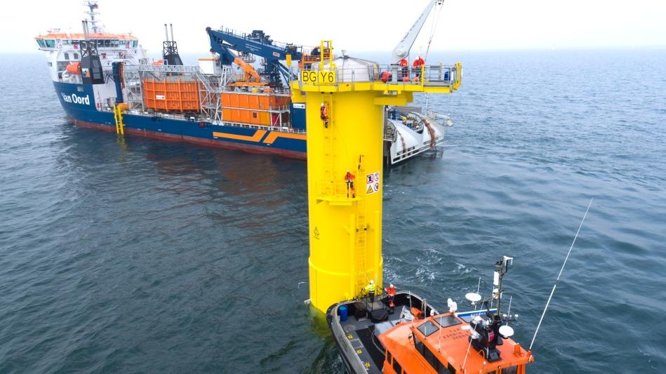Die Bauarbeiten für Norther an der Küste Belgiens sind in vollem Gange Wind Farm